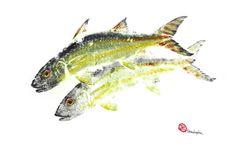 """Original Gyotaku Fish Print """"Together"""" 16 x 20"""