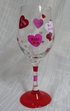 Valentine's Day Painted wine glass10 oz. Hearts by ArtByAmyBlake