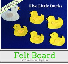 Five Little Ducks is a great kids song and with very easy to make felt boar story for your toddler.Learn counting and develop fine motor skills while play. Click now and download free felt board template.