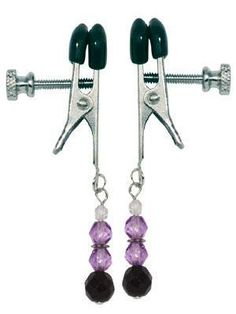 Adjustable Nipple Clamps with Purple Beads #nippleclamps #nipple #clamp