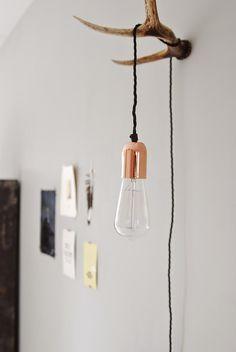 Copper & antler lamp diy