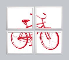 Bicycle Art Silhouette Red set of 4 prints each 8x10
