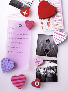 Magnetic Force -- These simple memo magnets are the perfect craft for your little cupid...a fun Valentine's project. To make, use paint chip card and cut our heart and glue a magnet on the back or reuse old msgnets from phone books and cut to same size as heart and glue on back. It's a charming way to display cards and photos.
