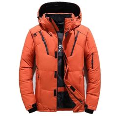 Winter duck down jacket men outwear thick warm snow parka mens hooded – Safaryworld.com Hooded Parka, Parka Coat, Hooded Coats, Anorak, Duck Down Jacket, Hoodie Jacket, Jacket Men, Cotton Jacket, Winter Jackets