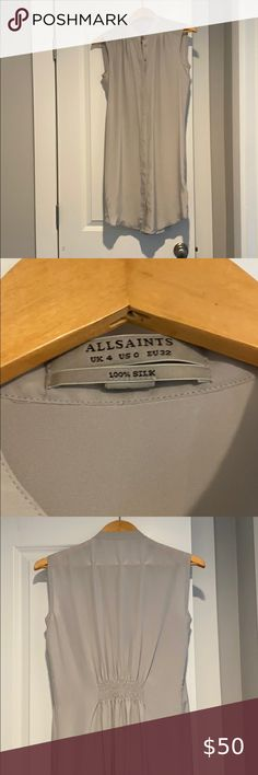 """SMALL NEW /& TAGS ALL SAINTS MEN/'S PALE PINK /""""FULLER/"""" LOGO L//S SHIRT TOP"""