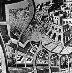 This shows Escher's ability to distort the perspective plane to his will, ultimately giving the world a twisting bloated appearance. I think art is most impressive as illusion or as introspective meta-philosophical work that questions paradigms of the viewer.