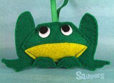 Felt Frog, Christmas Ornament, Felt Animal - Cooper the Frog