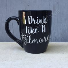This 12oz Black Ceramic coffee mug is perfect for the coffee drinking Gilmore Girl fan! The ceramic mug is designed with I Drink Like A