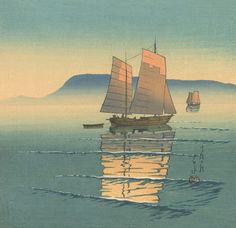 川瀬巴水 - 高松の朝 (1930)