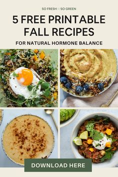 Five free printable fall recipes for natural hormone balance. Download this free printable guide that includes my five favorite seasonal recipes to empower you to look and FEEL your best! Get it now! Whole 30 Recipes, Fall Recipes, Healthy Recipes, Fertility Smoothie, Balance Hormones Naturally, Lactation Cookies, Clean Diet, Hormone Balancing, Menstrual Cycle