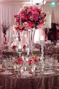 gorgeous pink centerpieces | F8 Studios #wedding