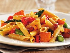 Penne with Asparagus, Butternut Squash, Tomatoes and Crispy Prosciutto