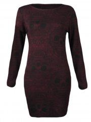 KarmaClothing Wine Red Long Sleeve Paisley Skull Tunic Bodycon Dress