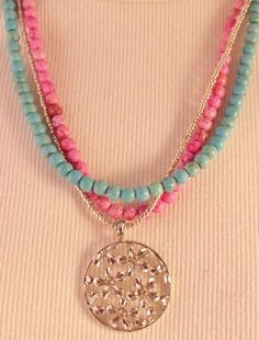 Blue and Pink Necklace $30.00