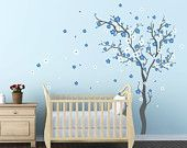 I like the blue flowers on this tree decal.