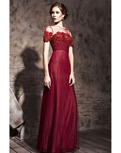 sheer Tulle Bateau Appliques bodice long Burgundy Evening Dress