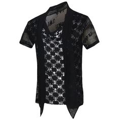 Skulls Printed Faux Twinset Short Sleeves T Shirt For Men ($17) ❤ liked on Polyvore featuring men's fashion, men's clothing, men's shirts, men's t-shirts, mens skull shirts, mens faux leather shirt, mens skull t shirts, mens short sleeve shirts and mens short sleeve t shirts