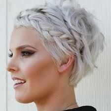 Short hair with fringe braid