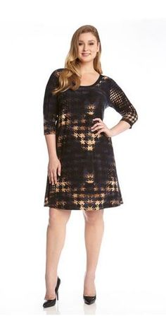 Karen Kane Plus Size Working Woman Fashion Brown and Blue Tie-Dye Houndstooth Work Dress #Karen_Kane #Plus_Size #Working_Woman #Fashion #KarenKane #Plus_Size_Dresses #Plus_Size_Work_Dresses