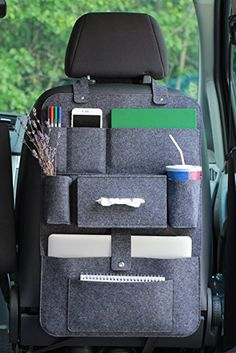 Rücksitzorganizer Autositz Filz Organizer mit Multitasche 62x41cm LuckySign®(dunkelgrau)
