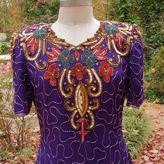 Vintage Beaded Dress Laurence Kazar Purple Silk by prettyinprague, $52.00