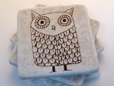 Owl coasters, hand-stamped tumbled marble tile