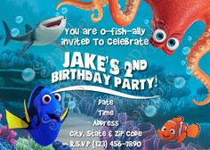 This listing is for a PRINTABLE Finding Dory Invitation 5x7 or 4x6 inches that will come in a 400 dpi high resolution JPG FILE which will be