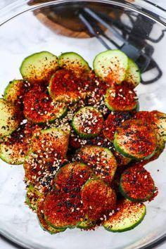 Korean Cucumber Salad - Pickled Plum Food And Drinks Korean Cucumber Salad, Cucumber Kimchi, Cucumber Recipes, Salad Recipes, Easy Asian Recipes, Korean Recipes, Yummy Recipes, Yummy Food, Korean Bbq Restaurant
