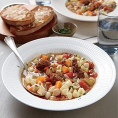 Chickpea and Sausage Minestrone | CookingLight.com #myplate #veggies #protein