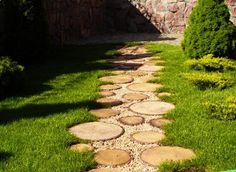 Yard landscaping ideas will look more interesting when you mix materials for creating beautiful garden paths, walkways, patios and flower beds