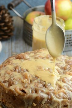 Instant Pot Apple Bread with Salted Caramel Icing. Try making with Jimmy John's Day Old Bread!