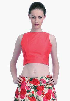 1c94dd2fc5949 Coral Lust Silk Crop Top -