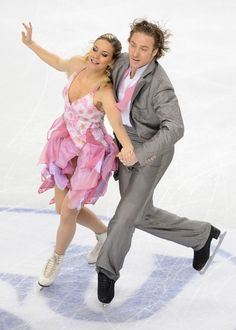 France's Nathalie Pechalat and Fabian Bourzat perform during the Ice Dance compulsory dance competition of the World Figure Skating Championships on March 23, 2010 at the Palavela ice-rink in Turin.