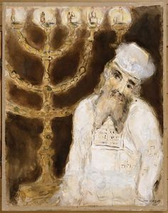 Aaron in front of the golden candlestick with seven branches, executed as prescribed by Lord - Marc Chagall