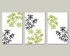 Modern Wall Art - Botanical Dot Trio - Set of Three Floral Prints - Choose Your Colors - Shown in Black, White, and Olive Green Botanical Wall Art, Botanical Prints, Floral Prints, Modern Art Prints, Modern Wall Art, Modern Decor, Diy Wall Art, Diy Art, Diy Canvas