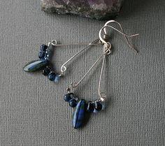 Blue and Blue Chandeliers - Earrings