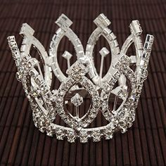 Mefeir Saucy Rhinestone Small Alloy Crown Tiara Headband Comb Pin SilverS * Visit the image link more details.