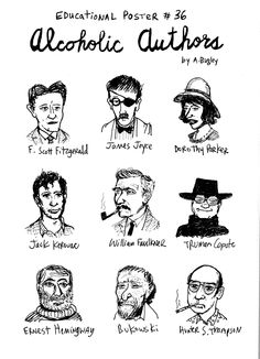 Know your literature stuff: Alcoholic Authors Writers And Poets, Books Art, Books To Read, My Books, Arte Peculiar, Dorothy Parker, William Faulkner, James Joyce, Book Authors