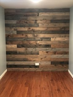 Rustic wood wall in my basement. Wooden Accent Wall, Accent Wall Bedroom, Accent Walls, Rustic Wood Walls, Reclaimed Barn Wood, Pallet Walls, Wood Panel Walls, Wood Accents, Wood Planks