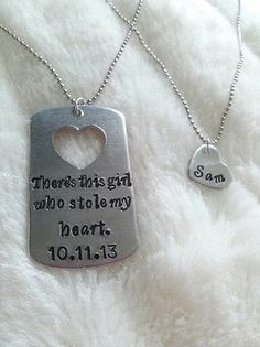 His & Hers Gift Hand Stamped Dog Tag Necklace SET (can be customized to say whatever you want)   by mReeDesigns