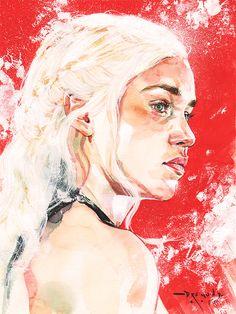 drumondart:Daenerys TargaryenWatercolor and white acrylic on paper
