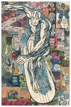 Silver Surfer Comic Collage  Giclee Print por ComicReliefOriginals