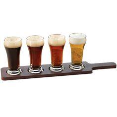 Libbey Craft Brews Beer Tasting Paddle Flight Set with Mini Pilsner Glasses - 5 Pieces