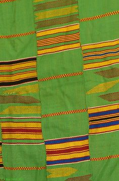 Kente Cloth, Handwoven, Ashante, Ghana, African - Green  Type of Object: Cloth, fabric, textile   Ethnic Group: Ashante   Country of Origin: Ghana   Materials: Rayon, silk, cotton   Dimensions: 65 x 32.5 inches   Approximate age: Mid 20th century