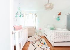 Homepolish Interior Design | Figuring out the kid's room layout was challenging but by trying several iterations and considering the accessories and compromising furniture (under-bed storage!), Haley was able to create a comfortable, cozy and beautiful space for the little girls to grow into.