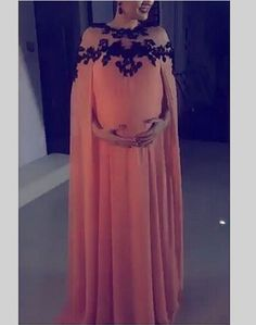 Find More Evening Dresses Information about robes soiree kaftan abaya 2016 chiffon black appliques o neck maternity evening dresses pregnant with cape arabic evening gowns,High Quality Evening Dresses from Sunflower Bridal on Aliexpress.com