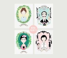 MINI PRINTS - Frida Kahlo Beatrix Potter Salvador Dali Coco Chanel A5 - sold separately on Etsy, £4.00
