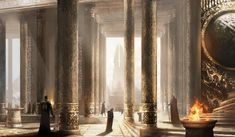 I gaze upon the beautiful, golden room. My eyes gazed upon the pillars. I take a step, and then another. Too busy looking at all the fine detail that I forget to watch where I am going. I run into someone, knocking us both down.