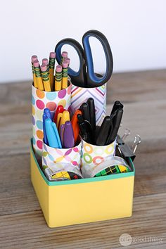 Cardboard Tubes-Organize your desk supplies  Keep your office supplies organized and handy with a DIY desk organizer. Cut cardboard tubes to different lengths so that the front doesn't block the back, and secure the tubes in a square or rectangle box. Decorate with scrapbook paper and washi tape to your heart's content!