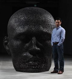 Chain sculptures by Seo Young Deok  - He used more than one mile of old bicycle chains to create this human face. He spent a year welding together the sculpture.